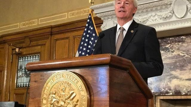 Arkansas Gov. Asa Hutchinson is seen at the state Capitol in Little Rock. He provided an update to the state's COVID-19 response on Monday from Rogers.