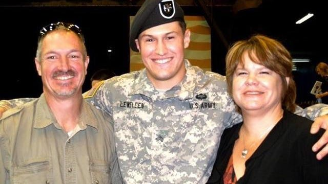 Photo of Chuck, Matthew and Cindy Lewellen after Matthew's Green Beret graduation ceremony in 2012.