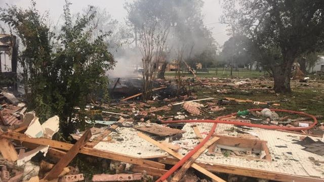 An explosion Tuesday morning at a home in Ellinger in eastern Fayette County left two people severely injured, authorities said.