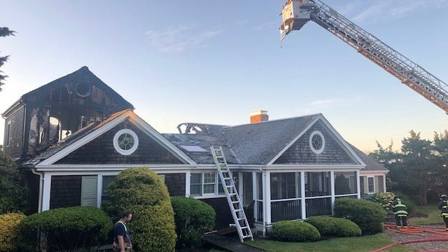 A two-alarm caused heavy damage to a house at 15 Samoset Road in Orleans. The house was unoccupied and there were no injuries.