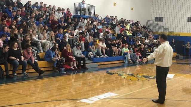 Justin Hayes speaks to students at East Canton High School about his past struggles with anxiety and substance abuse. A marketing executive who also teaches at Walsh University, Hayes visits schools urging students to seek help if they need it.