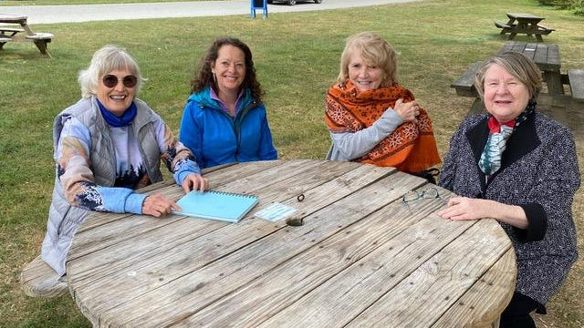 Authors, from left, Judith Porter, Mary Clare O'Grady, Dianne Elliott and Irene Hubbard contributed to How We Got Here, a newly published book of essays. Not pictured are Janet Skinner and Cathy Del Nero.