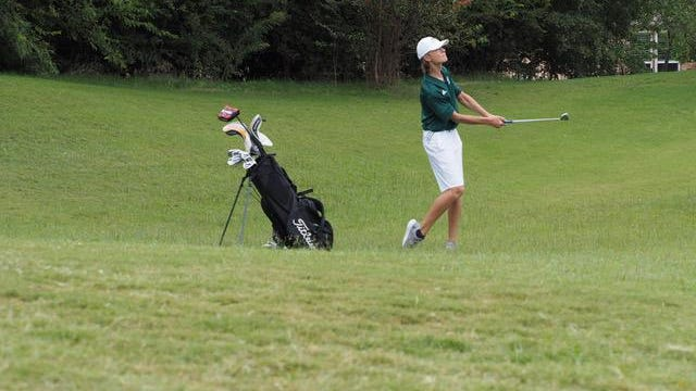 Kelly Pimenov, of Prosper High School's boys Varsity II golf team, plays in a tournament Sept. 21 at Frisco Lakes Golf Club. The team placed third overall at the event.