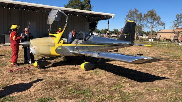 The pilot of the single-engine, two-seater plane discovered a fuel leak while in flight and landed on U.S. 290 east of Carmine in northern Fayette County, authorities said. No one was reported injured.