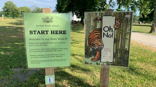 The story walk at the Berkley Public Library.
