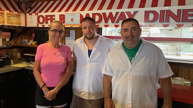Server Kelly Cravero, Chef Bobby Spencer and Owner Tino Farese at Off Broadway Diner in Taunton on Tuesday, August 4, 2020.