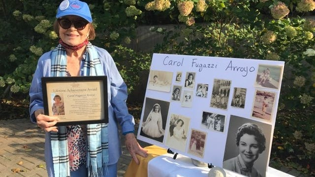 Carol Fugazzi Arroyo received a special lifetime achievement award from Goddard House, the assisted living and memory support community that she calls home, Oct. 4.
