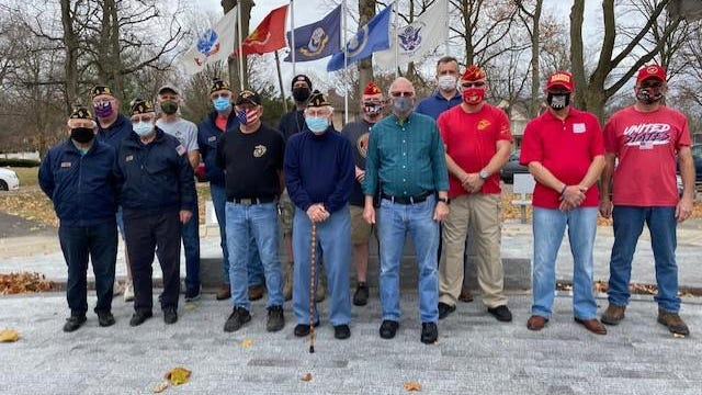 Logan County veterans gathered Tuesday for a picture at Veterans Park in Lincoln. Front row from left: Stu Churchill, Bob Sullivan, Dennis Reeves, Bill Gossett, Dave Last, Ramon Gonzalez, Joe Schaler and Owen Eaton. Back row from left: Kenny Werth, Bill Melton, Ray Skelton, Scott Albright, Bill Stauffer and Dan Benedict. A Veterans Day service will be held at 10:30 a.m. today Wednesday, Nov. 11 at the VFW Banquet Hall, 915 5ht St., in Lincoln. Due to concerns with COVID-19, limited seating will be available and there will be no meal to follow.  Masks are encouraged.