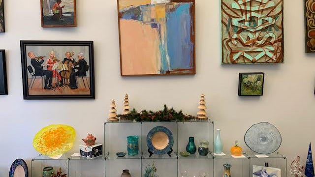Some of the art available for purchase on display at the new Springfield Art Association gallery at 105 N. 5th St. in Springfield.