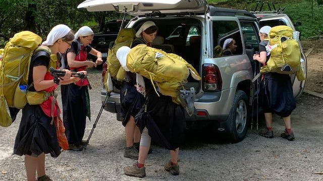The women prepare for another stretch of the Appalachian Trail.