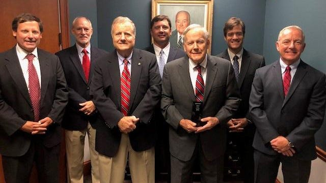 (L:R) Allen Williams, Charles McCoy, Alan Williams, Rob Bowden, Dick Williams, Dan Pavlin, and Robert Daniels of Bernard Williams & Company. The Savannah insurance agency was recently honored as the State Partner of the Year by Keystone Insurers Group.