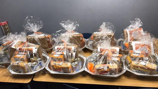 Wenzel and Congress elementary schools in Sturgis collected money to create Thanksgiving baskets for families in the community.
