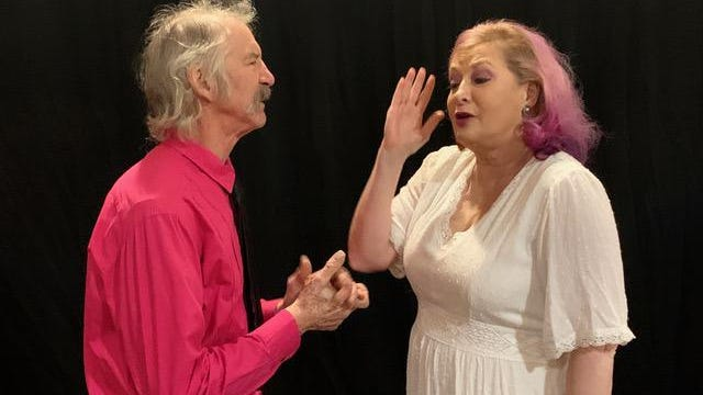 """Charles Terrat and Donna Dale, married performers, rehearse the song  """"Sue Me"""" from """"Guys & Dolls"""" for the online presentation of """"I Got Love."""""""