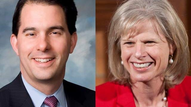 Scott Walker and Mary Burke