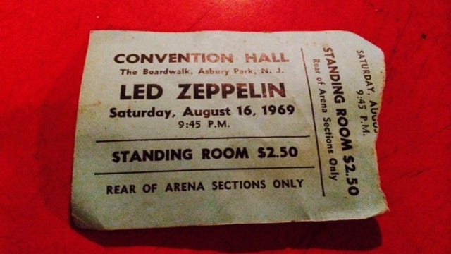 Deal resident Pam DeLisa's ticket to Led Zeppelin's show on Aug. 16, 1969, at Asbury Park's Convention Hall.