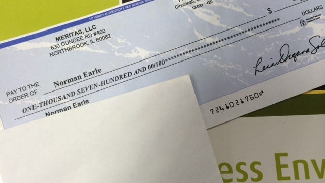 This check looked too good to be true to Norman Earle, and it was. He didn't fall for the Craigslist scam.