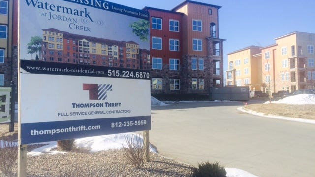 The new Watermark by Jordan Creek apartments sit behind Walmart in West Des Moines near Stagecoach Drive.