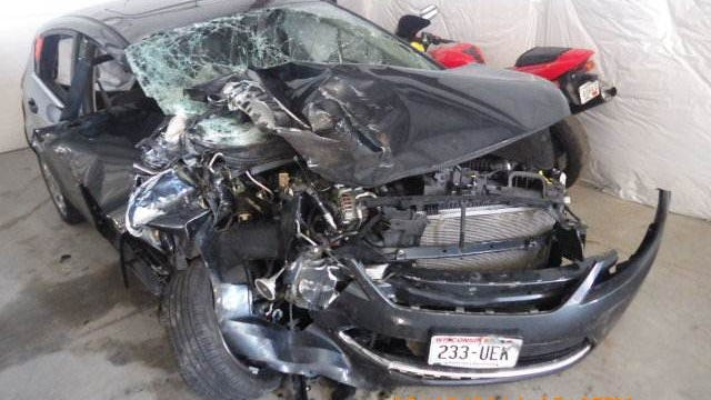 Photo of the car driven by Julie Harrell that was hit by Julie Harrell in June.
