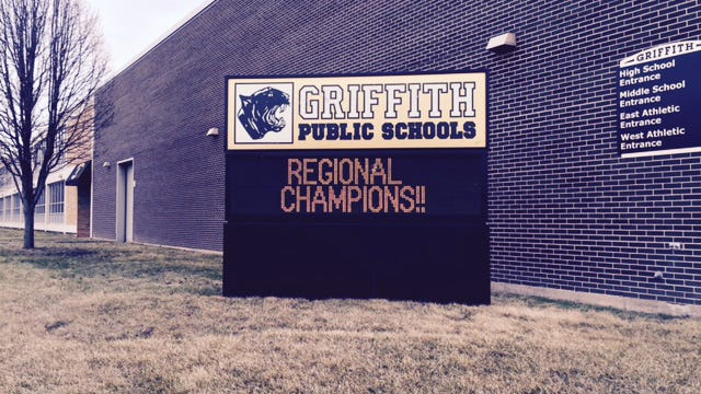 Sign outside Griffith High School