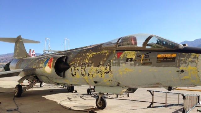 A Vietnam-era F-104 Starfighter at Palm Springs Air Museum, pre-renovation, on Aug. 27, 2014.
