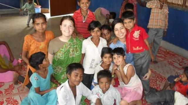 Mueller volunteered in India at Food for Life Vrindavan in 2010. She taught English and worked in the kindergarten.