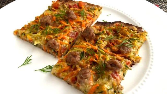 Turkey & Vegetable Confetti Pizza starts with a crispy-thin gluten-free crust.