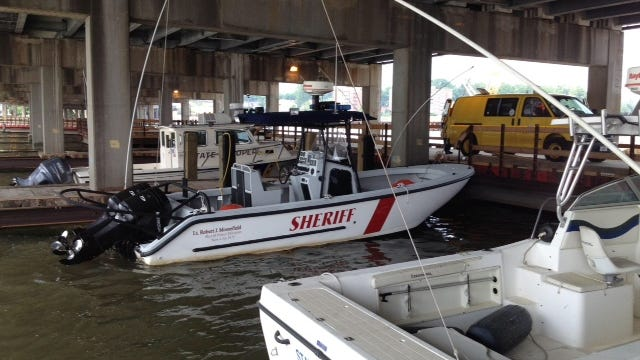 This Rockland County Sheriff's patrol boat now docks under the Tappan Zee Bridge.