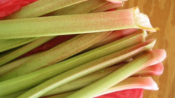 Cornell Cooperative Extension recently hosted a meeting at Keuka Lake-based Heron Hill Winery to connect farmers with area restaurants and inns. One farmer had some locally grown rhubarb in tow. Provided photo.