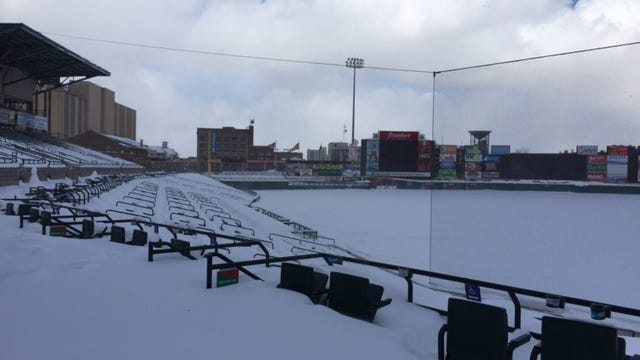 Play ball? Snowball, maybe. Frontier Field was a snow-filled winter wonderland last week. Assuming it warms up again, the Red Wings play their home opener on April 11.