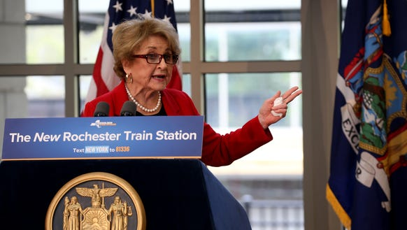 Congresswoman Louise Slaughter at the opening of the Rochester Intermodal Station in October 2017.