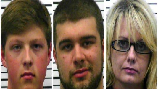 Left to right: Nicholas Andrew Davis, Dylan Wayne Sizemore, Heather Scott Sawyer.