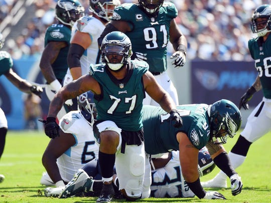 Sep 30, 2018; Nashville, TN, USA; Philadelphia Eagles defensive end Michael Bennett (77) after a defensive stop during the first half against the Tennessee Titans at Nissan Stadium. Mandatory Credit: Christopher Hanewinckel-USA TODAY Sports