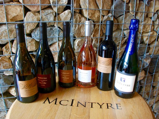 A variety of McIntyre wines. The company makes Pino Noir, Chardonnay and sparkling wines.