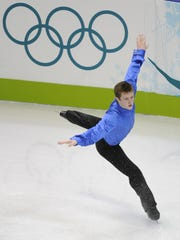 USA's Jeremy Abbott skating in the free program at the 2010 Olympics.