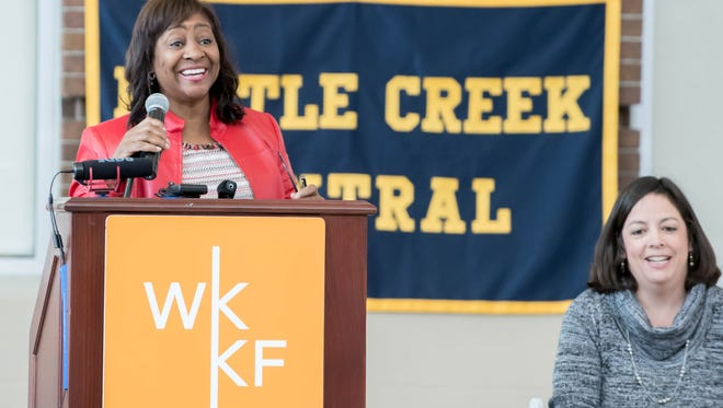 W.K. Kellogg Foundation President and CEO La June Montgomery Tabron talks about the foundation's $51 million investment into Battle Creek Public Schools on Friday at Battle Creek Central High School.