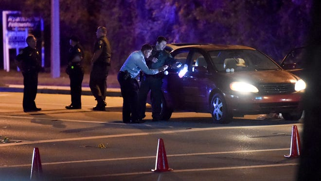 """Indian River County sheriff's officials investigate a fatal shooting leaving one man dead Thursday, Nov. 16, 2017, at the 5300 block of State Road 60 in Vero Beach. The Sheriff's Office called it a """"road rage incident."""""""
