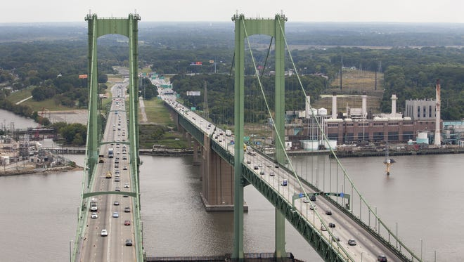 New Jersey can be seen from the top of the southbound span of the Delaware Memorial Bridge.