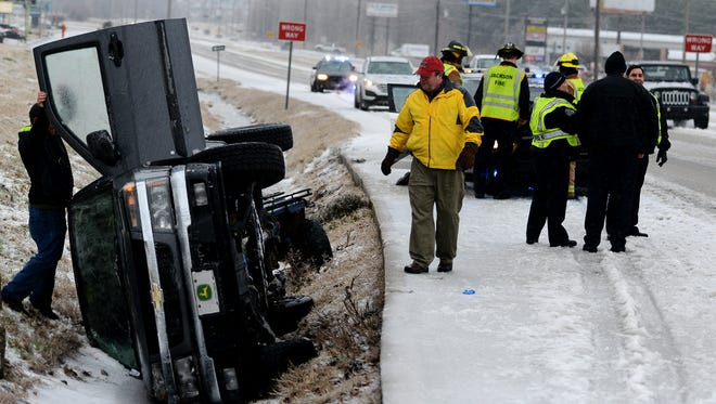 A pickup truck ended up in a ditch on the U.S. 45 Bypass on Monday morning. Icy road conditions were a factor in the accident.