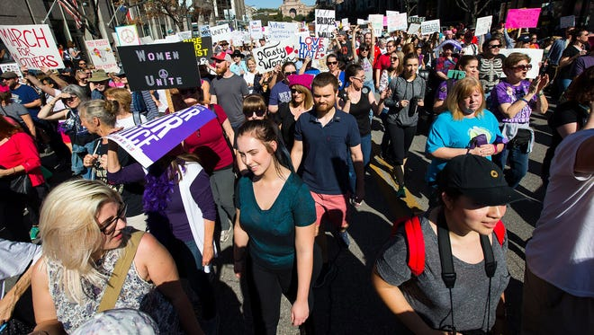 Protesters march down Congress Avenue during the Austin Women's March on Jan. 21, 2017. Supporters of legislation introduced in some states say measures are needed to control protests, while others see them as a way to stifle free speech.