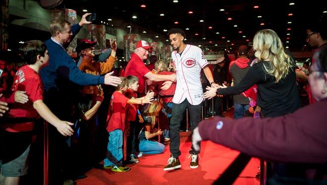 Cincinnati Reds center fielder Billy Hamilton (6) greets fans at Redsfest at the Duke Energy Convention Center in downtown Cincinnati Friday, December 1, 2017.