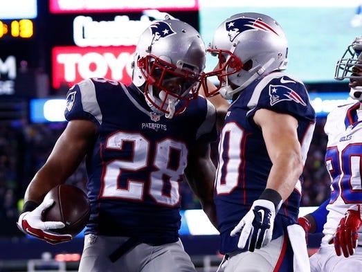 Patriots running back James White (28) celebrates his
