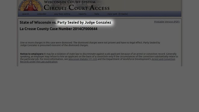 Sealed court record on Wisconsin Court System Circuit Court Access