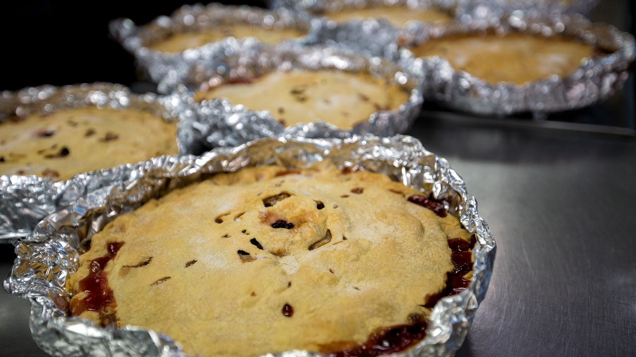The owner of Norske Nook in Osseo, Wis. Jerry Bechard explains what goes into the bakery's pies, which have won numerous national awards, on Friday, November 17, 2017.
