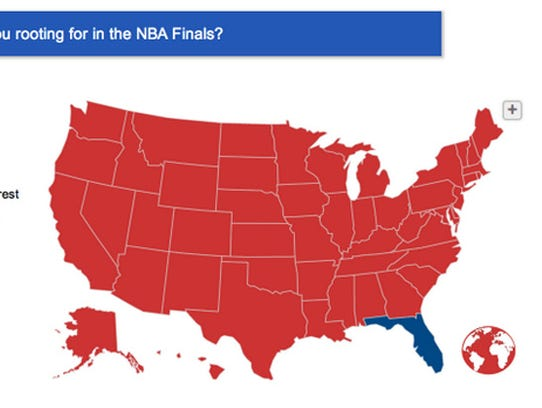 ESPN's Sports Nation site polled readers about who they're rooting for in the Miami Heat-San Antonio Spurs NBA Finals series. Only Florida shows a clear majority rooting for the Heat.