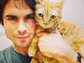 "Ian Somerhalder took his kitty to the vet before heading to the ""The Vampire Diaries"" set."