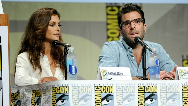 "Hannah Ware, left, and Zachary Quinto attend 20th Century Fox panel for ""Hitman: Agent 47"" on Day 2 of Comic-Con International on Friday, July 25, 2014, in San Diego."
