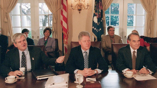 From left, House Speaker Newt Gingrich, President Clinton and and Senate Majority Leader Bob Dole try to negotiate the budget in December 1995.
