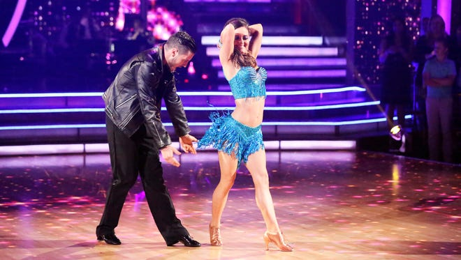 Danica McKellar and pro partner Val Chmerkovskiy shake a leg on the 'Dancing' dance floor.