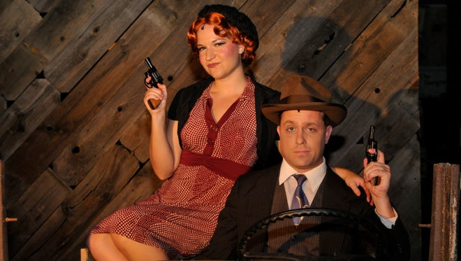 """Becca Coffey and Jonathan Wheeler star in the musical """"Bonnie & Clyde"""" presented by the Visalia Community Players at the Ice House Theatre. The show runs through Aug. 24."""