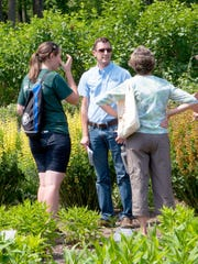 George Coombs (center), Mt. Cuba Center's research horticulturist, headed the study of baptisia